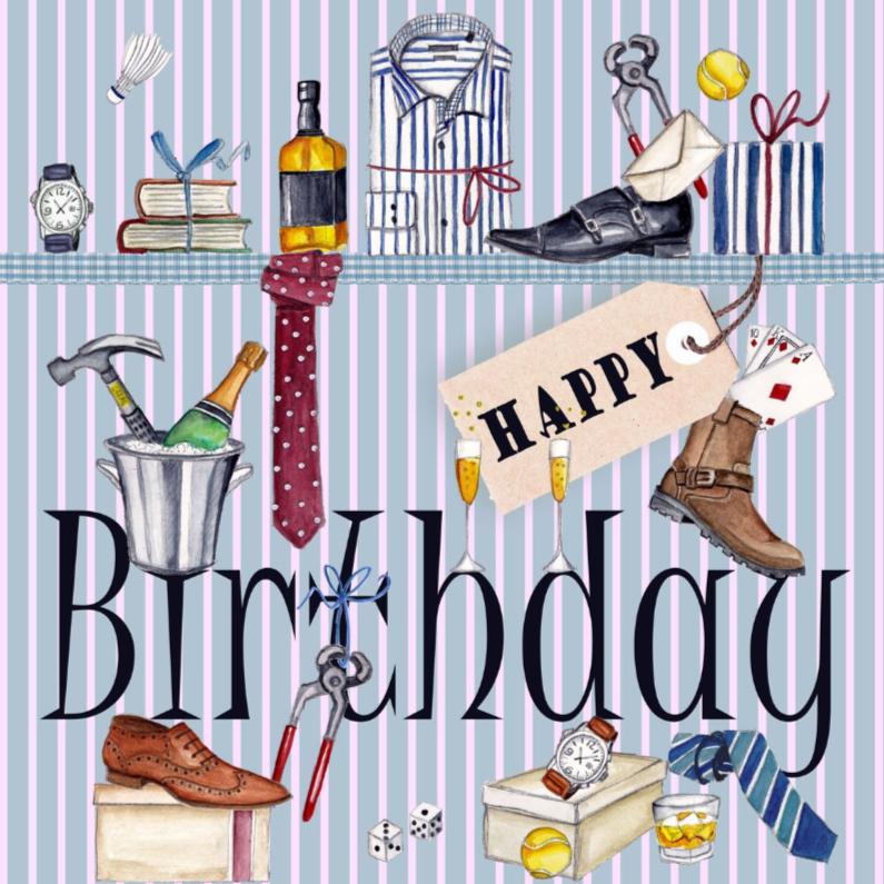 Verjaardagskaarten - Jarig Man Stoer Schoen Champagne Jongen