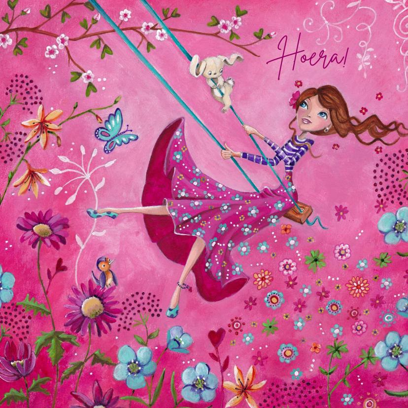 Verjaardagskaarten - Jarig Meisje Bloemen Schommel illustratie