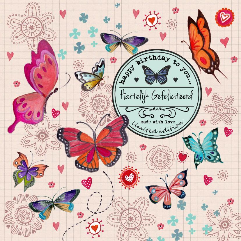 Verjaardagskaarten - Jarig Meisje Bloemen Vlinder Label Beige
