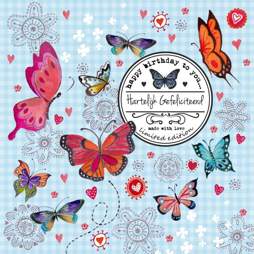 Verjaardagskaarten - Jarig Meisje Bloemen Vlinder Label Blauw