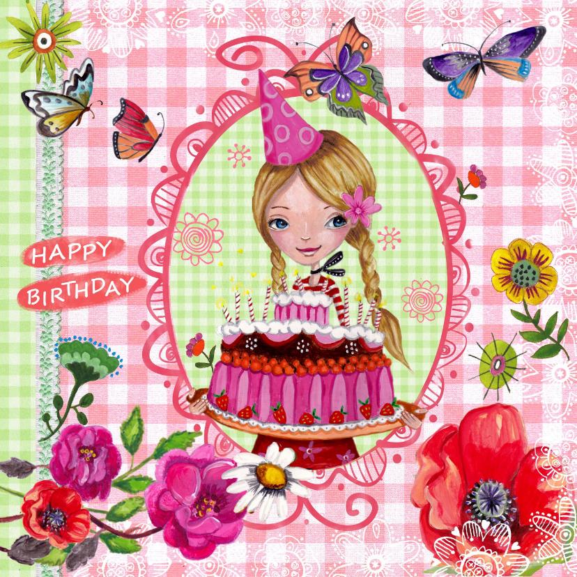 Verjaardagskaarten - Jarig MEISJE Blond Vlinders Illustratie