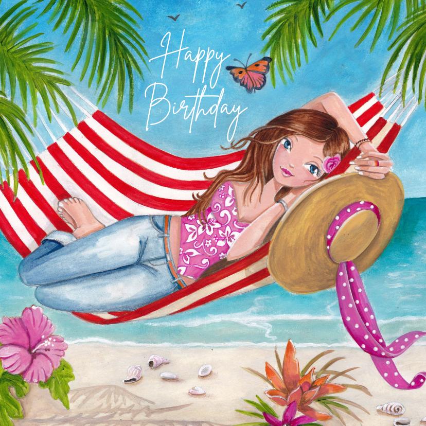 Verjaardagskaarten - Jarig Meisje Hangmat Zomer Illustratie