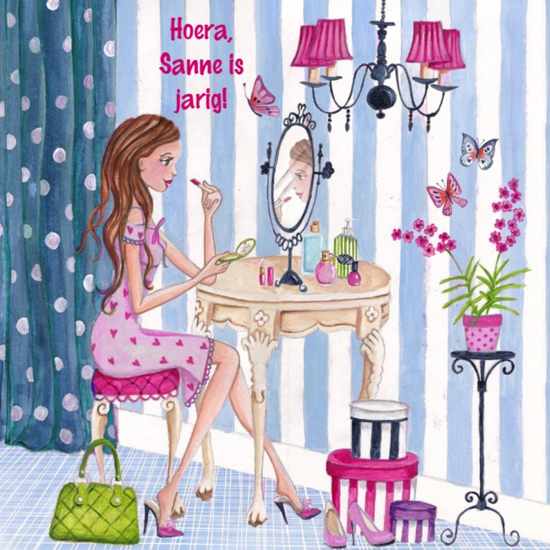 Verjaardagskaarten - Jarig Meisje Makeup Beauty Illustratie