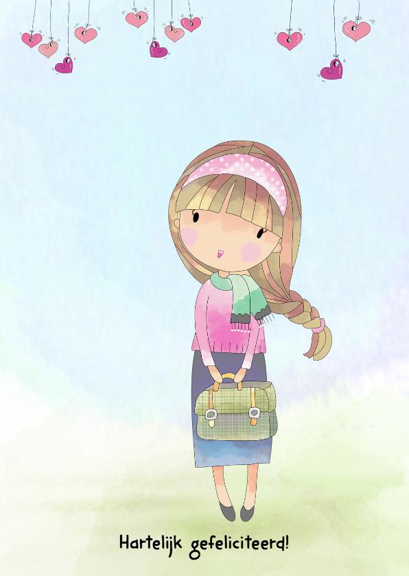 Verjaardagskaarten - Jarig meisje met tas