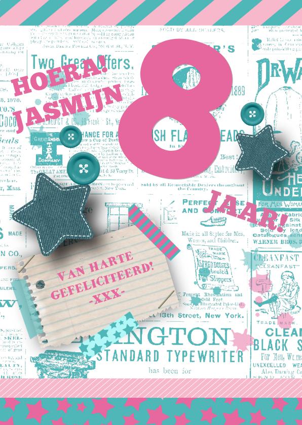 Verjaardagskaarten - Jarig Meisje Pink&Green
