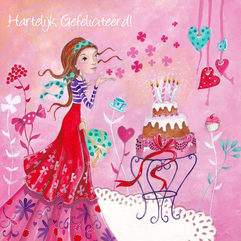 Verjaardagskaarten - Jarig Meisje Taart Roze Illustratie