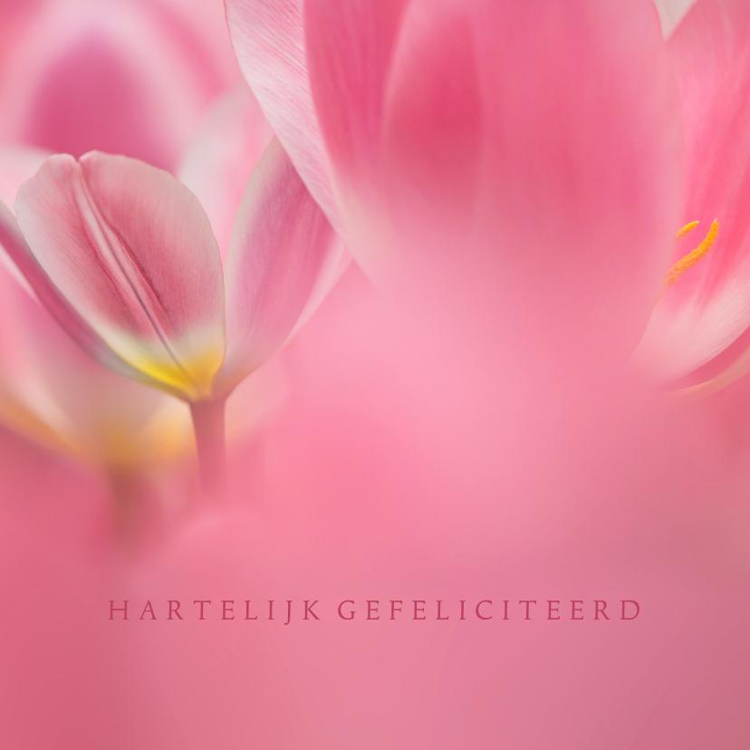 Verjaardagskaarten - Jarig met roze tulpen