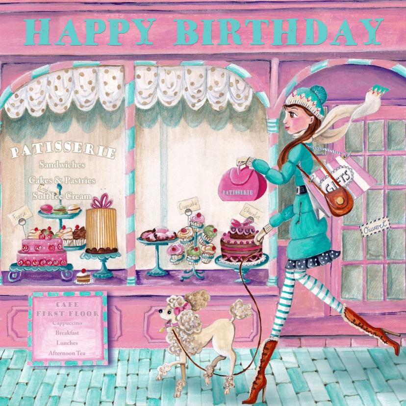 Verjaardagskaarten - Jarig Patisserie Cupcake Taart Meisje