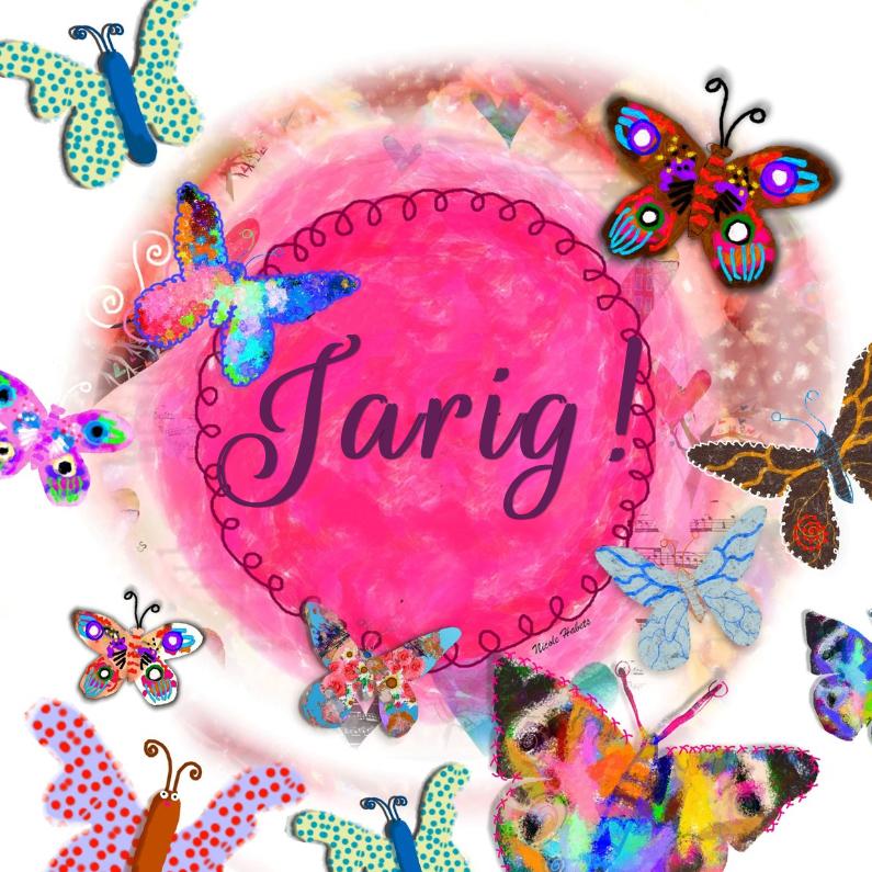 Verjaardagskaarten - Jarig roze met vlinders