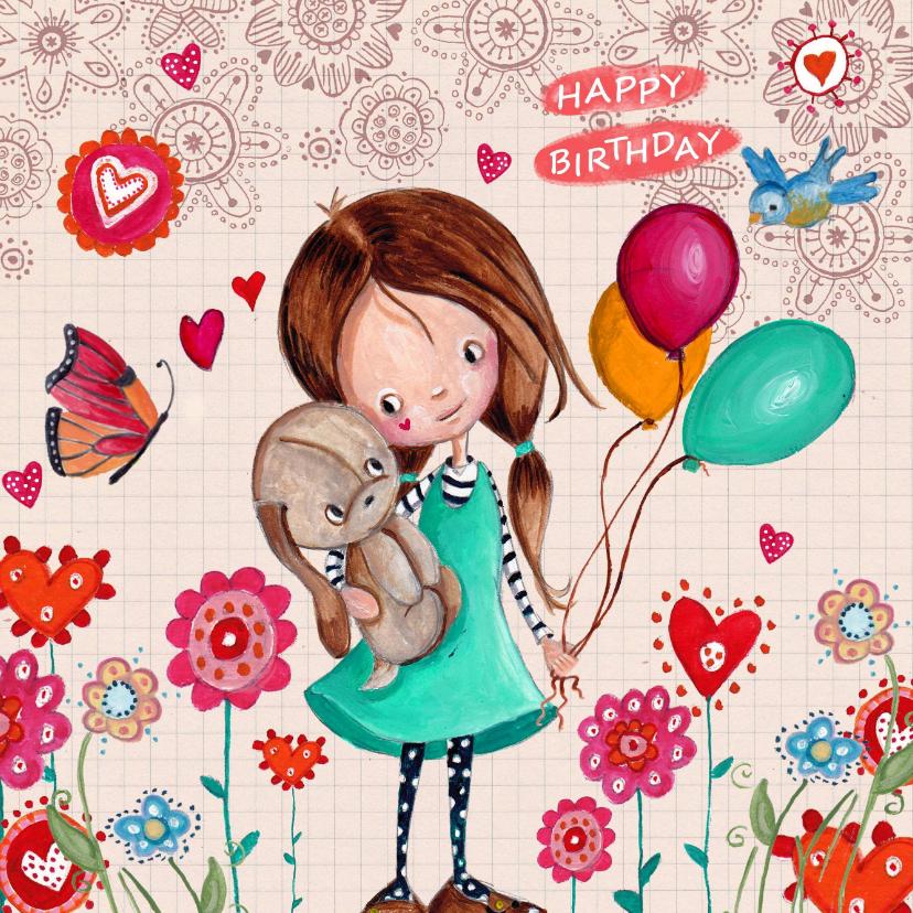 Verjaardagskaarten - Jarig Ruitje Bloemen Ballonnen