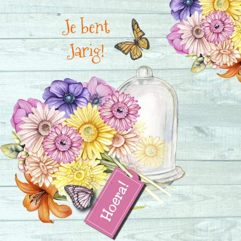 Verjaardagskaarten - Jarig stolpje bloemen