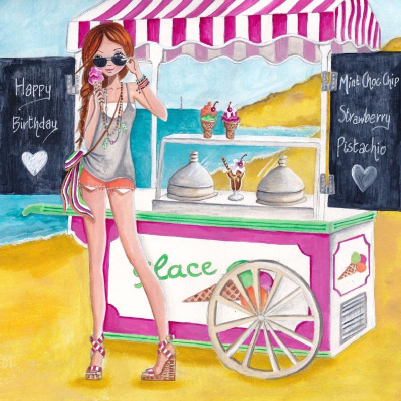 Verjaardagskaarten - Jarig Strand IJs Zomer Illustratie