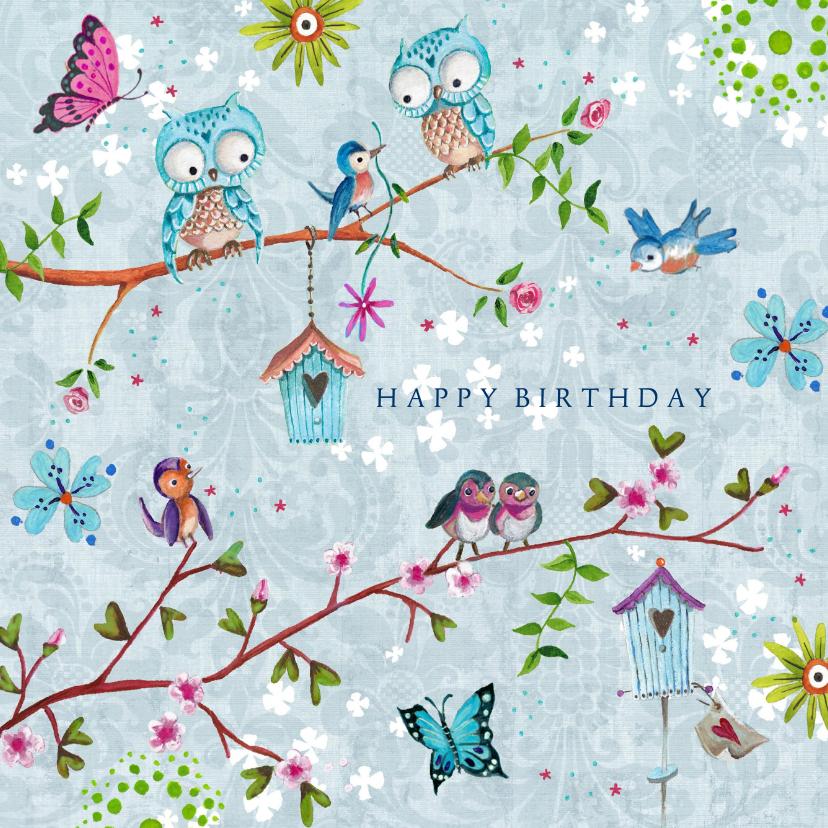 Verjaardagskaarten - Jarig UIL bloemen vlinders vrolijk lente