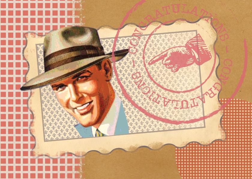 Verjaardagskaarten - Jarig - Vintage Man Rood - MW