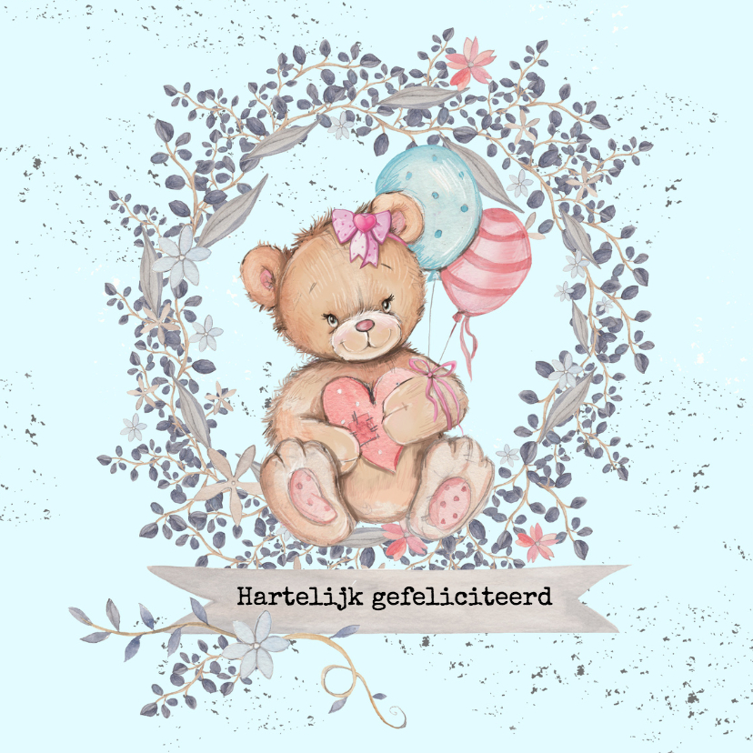 Verjaardagskaarten - Jarigkaart beer met ballonnen