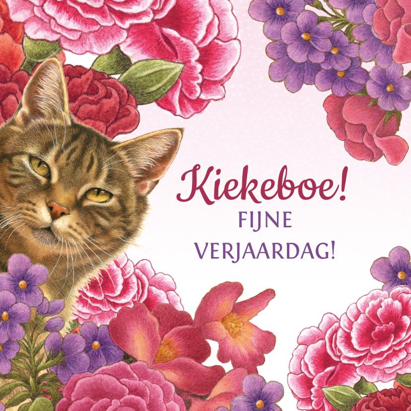 Verjaardagskaarten - Kat zegt kiekeboe vanuit de bloemenstruik