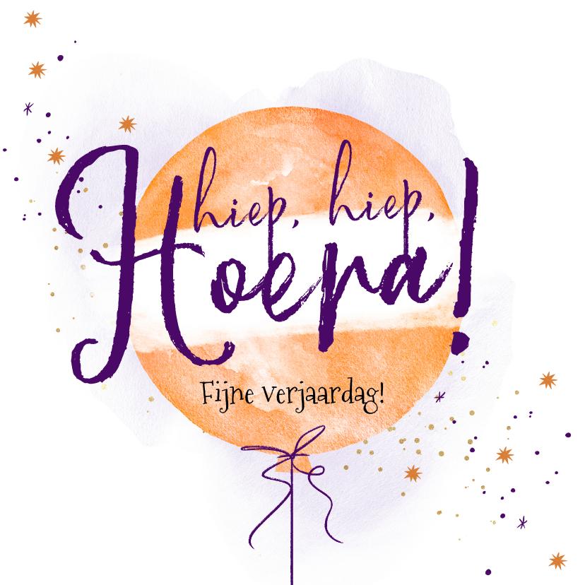 Verjaardagskaarten - KiKa verjaardagskaart met ballon hiep hiep hoera