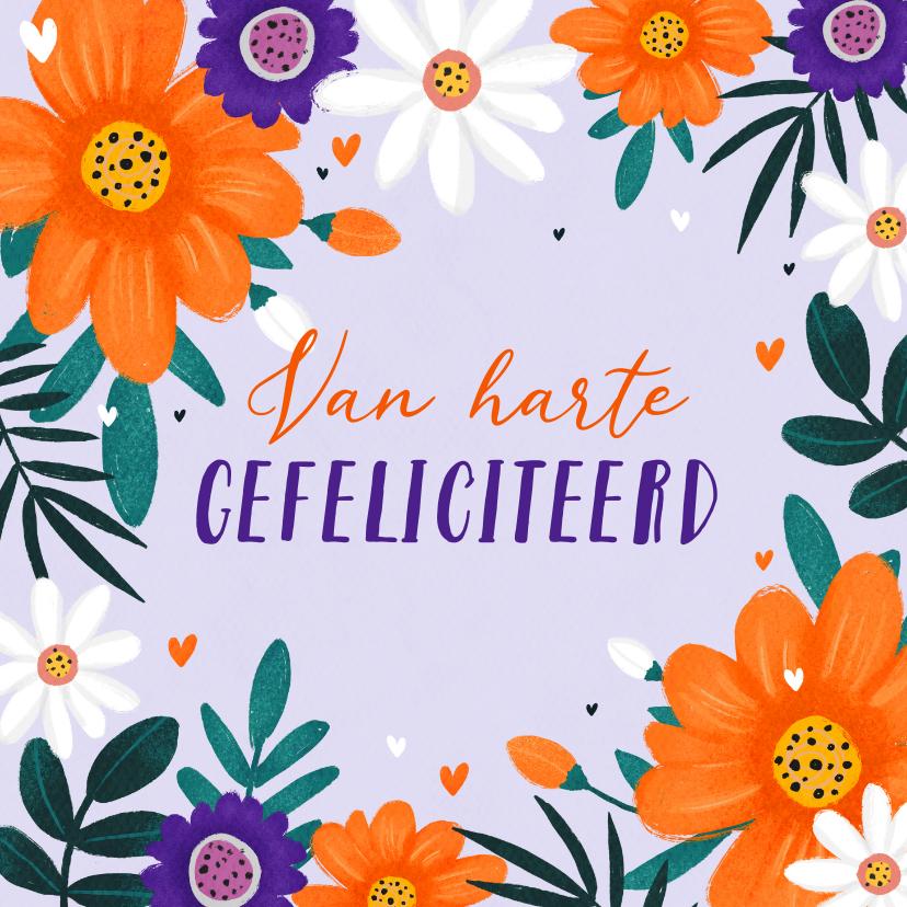 Verjaardagskaarten - KiKa verjaardagskaart oranje paars en witte bloemen