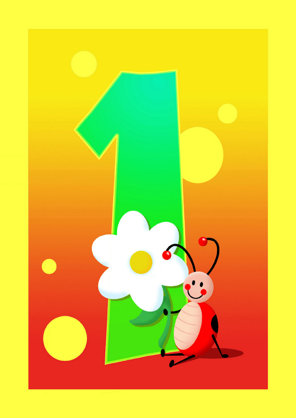 Verjaardagskaarten - kinderkaart Hoera 1 jaar