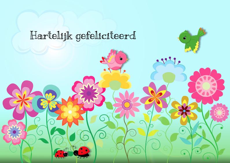 Verjaardagskaarten - Kleurrijke bloemen en vogels