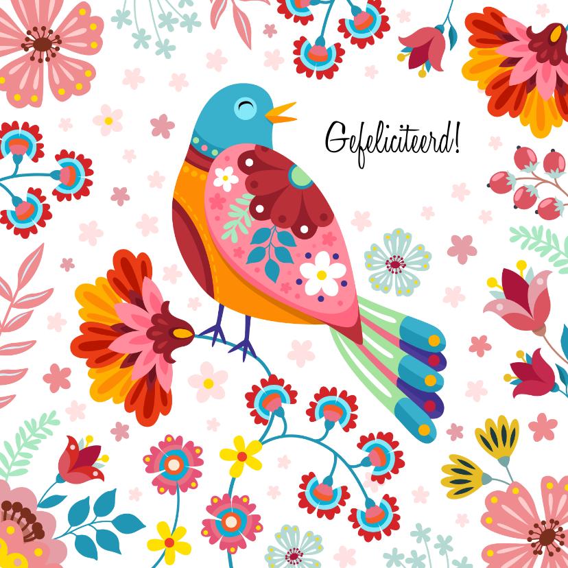 Verjaardagskaarten - Kleurrijke botanische verjaardagskaart vogel