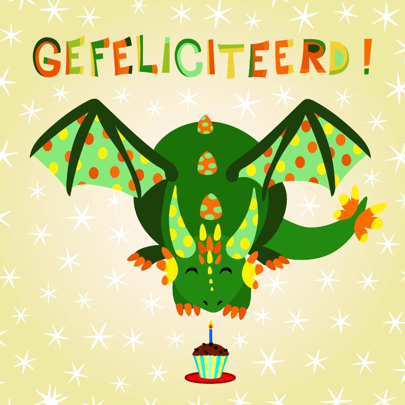 Verjaardagskaarten - Kleurrijke verjaardagskaart groene draak