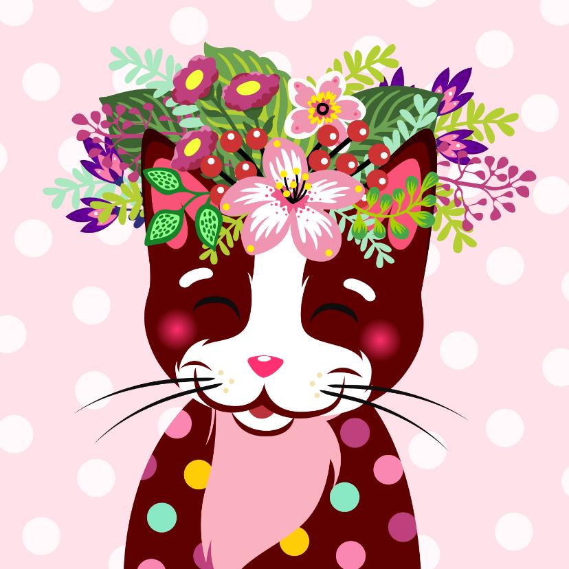 Verjaardagskaarten - Kleurrijke verjaardagskaart kat bloemenkroon
