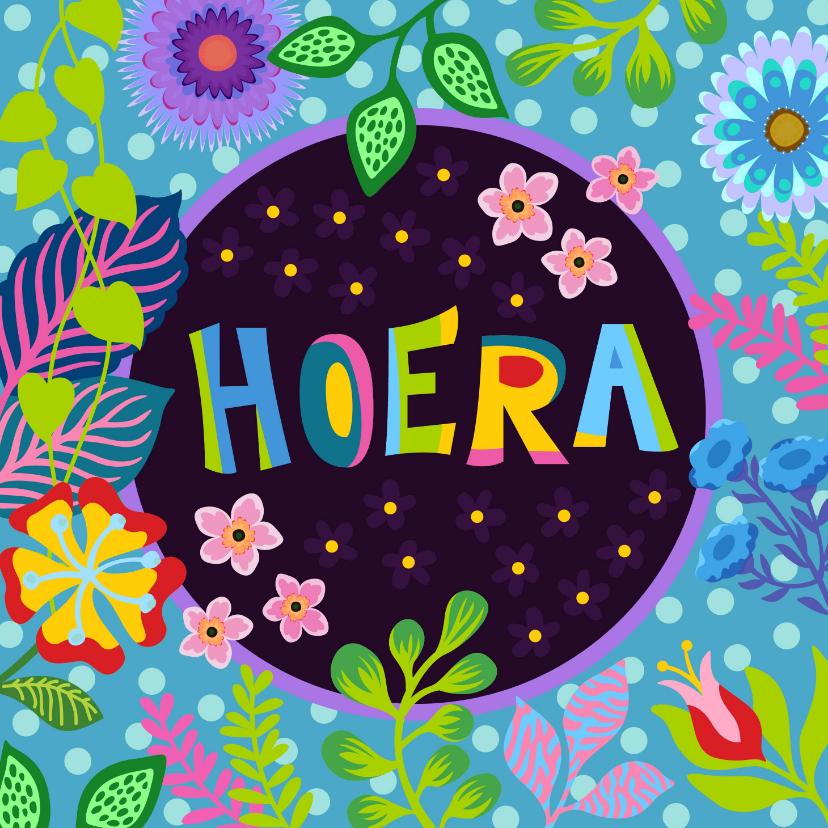 Verjaardagskaarten - Kleurrijke verjaardagskaart met bloemen en planten