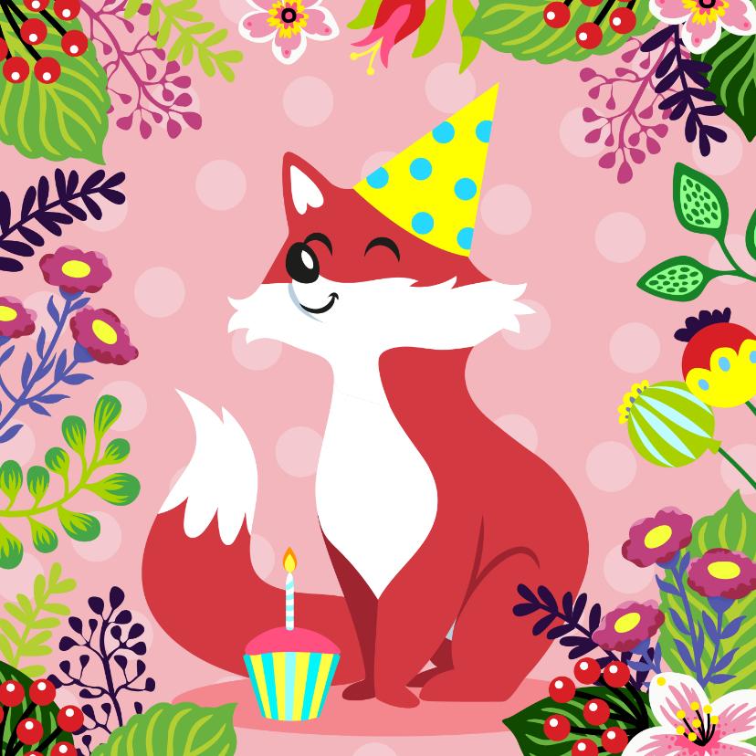 Verjaardagskaarten - Kleurrijke verjaardagskaart vosje en bloemen