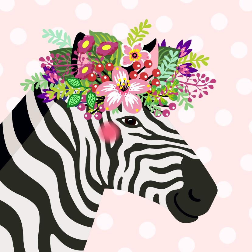 Verjaardagskaarten - Kleurrijke verjaardagskaart zebra bloemenkroon
