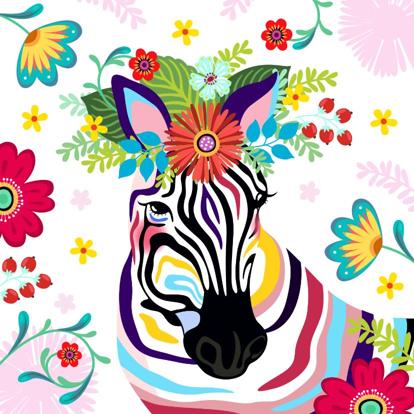 Verjaardagskaarten - Kleurrijke zebra met bloementooi verjaardagskaart.