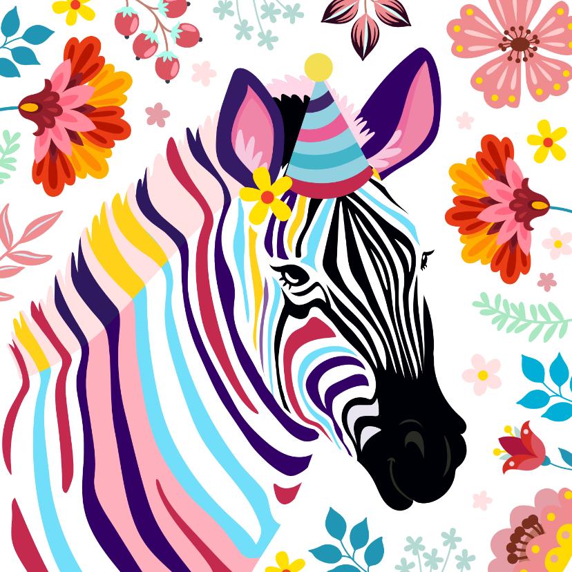 Verjaardagskaarten - Kleurrijke zebra verjaardagskaart met bloemen