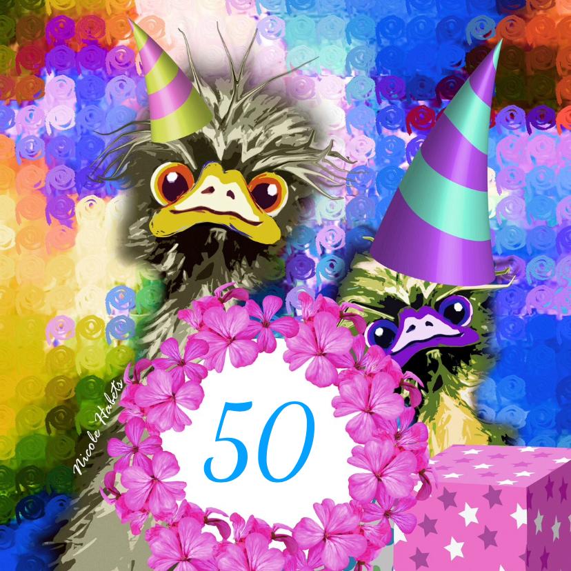 Verjaardagskaarten - Leeftijdkaart Struisvogel