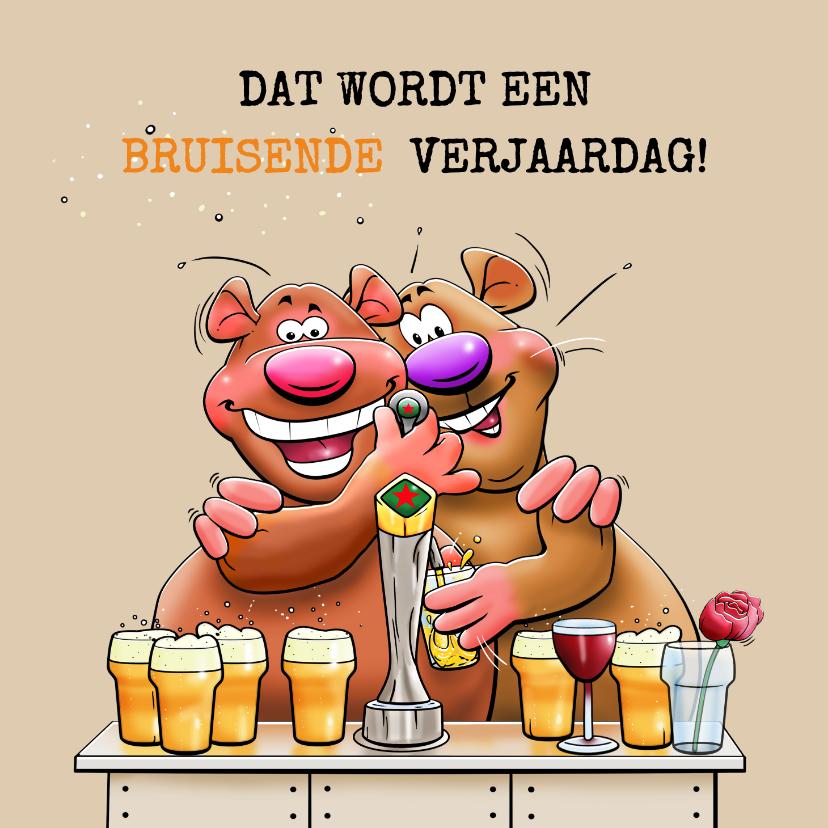 Verjaardagskaarten - Leuke en grappige verjaardagskaart met beertjes en bier