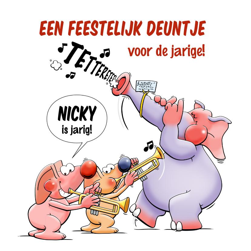 Verjaardagskaarten - Leuke kaart met trompet, olifant en 2 muizen