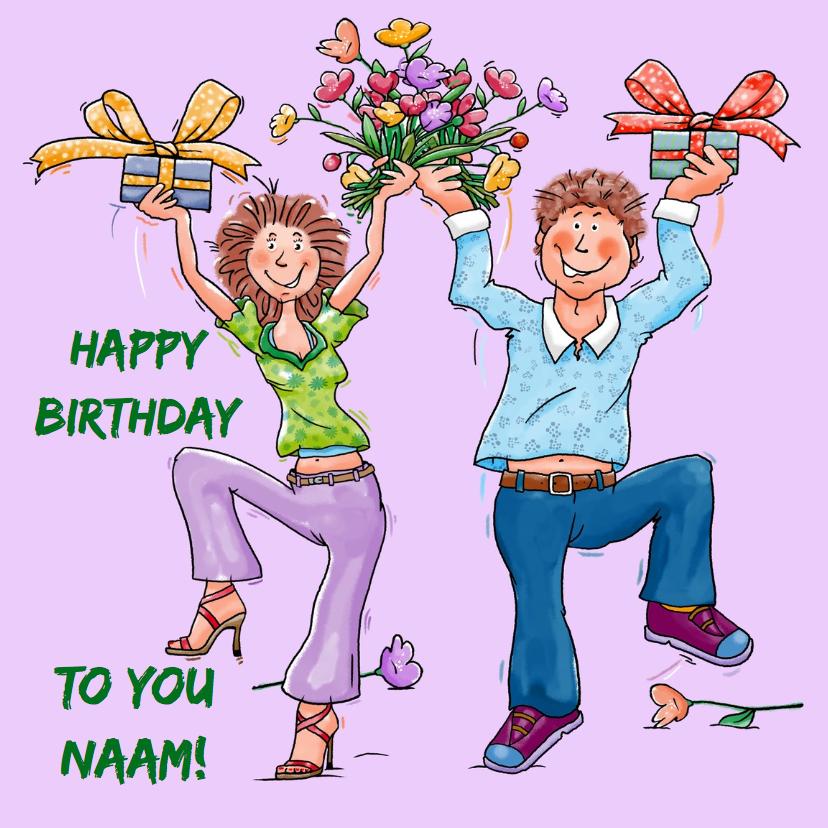 Verjaardagskaarten - Leuke verjaardagkaart dansend stel met pakjes en bloemen