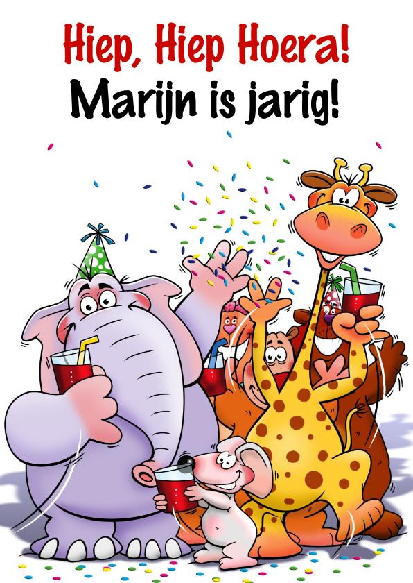 Verjaardagskaarten - Leuke verjaardagkaart met grappige dieren voor een kind