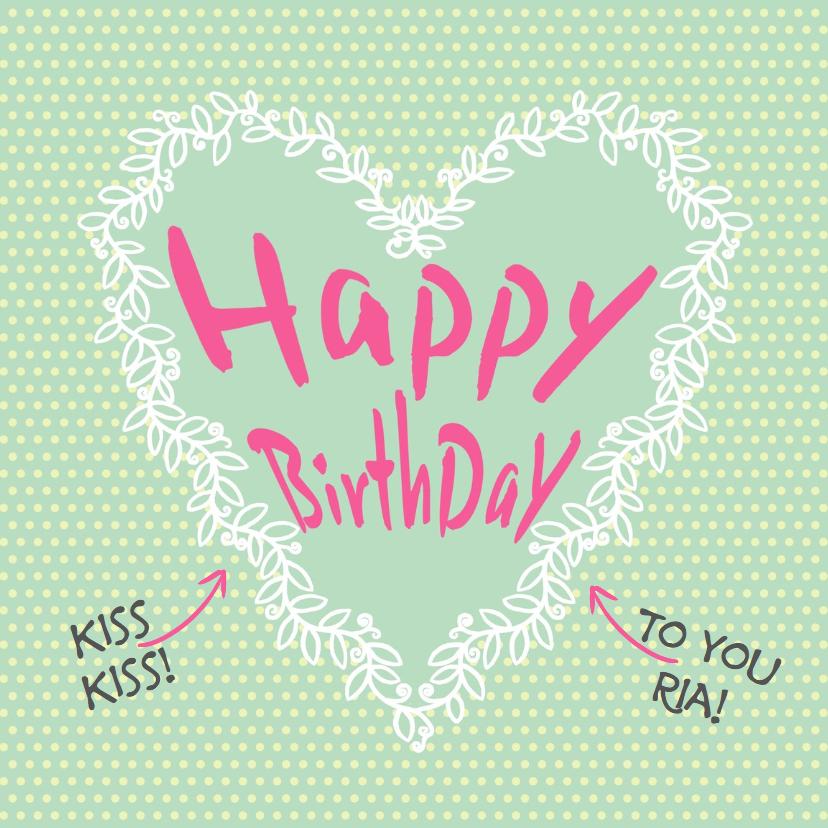 Verjaardagskaarten - Leuke verjaardagkaart wit hart op stippen en groen