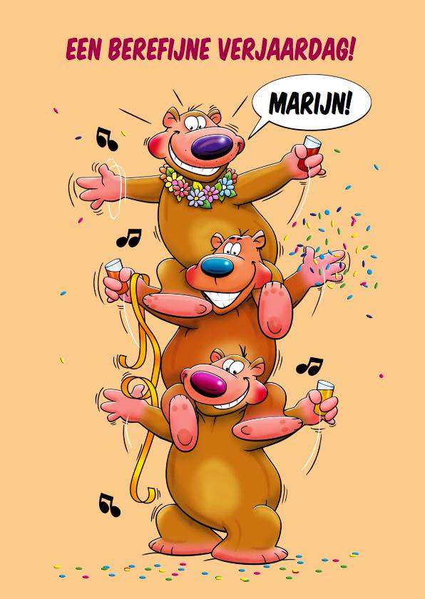 Verjaardagskaarten - Leuke verjaardagskaart 3 grappige beren met een drankje