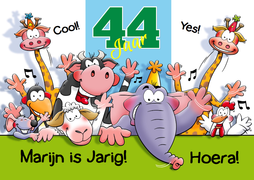 Verjaardagskaarten - Leuke  verjaardagskaart aanpasbaar met grappige dieren