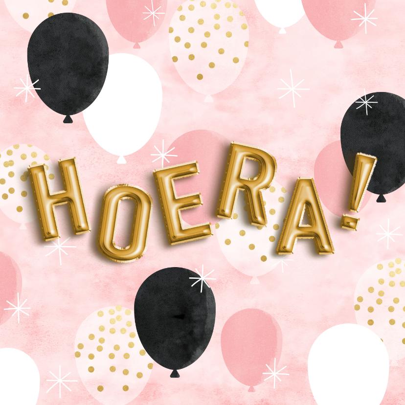 Verjaardagskaarten - Leuke verjaardagskaart ballonnen, folieballonnen en 'Hoera!'