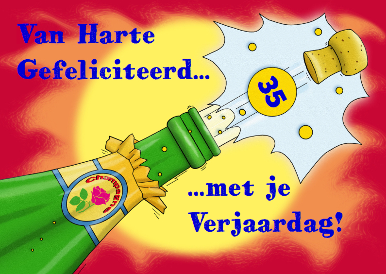 Verjaardagskaarten - Leuke verjaardagskaart felicitatie fles met champagne