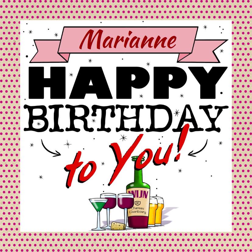 Verjaardagskaarten - Leuke verjaardagskaart flesje wijn, bier en cocktail