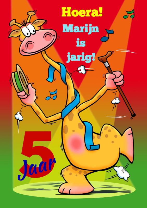 Verjaardagskaarten - Leuke verjaardagskaart giraf met leeftijd verjaardag