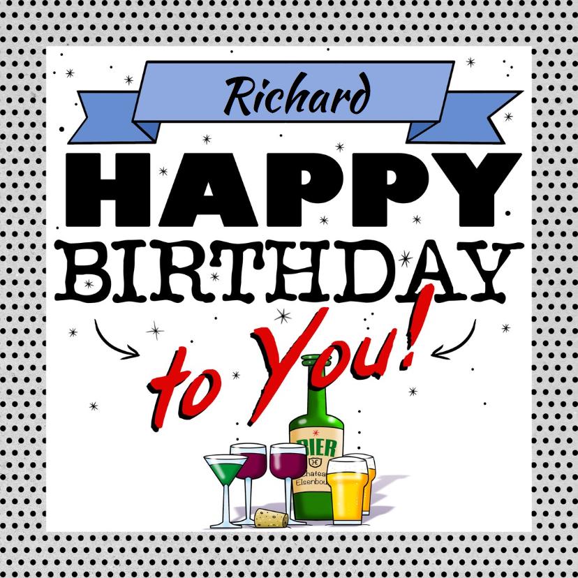 Verjaardagskaarten - Leuke verjaardagskaart Happy Birthday! met glazen en bier