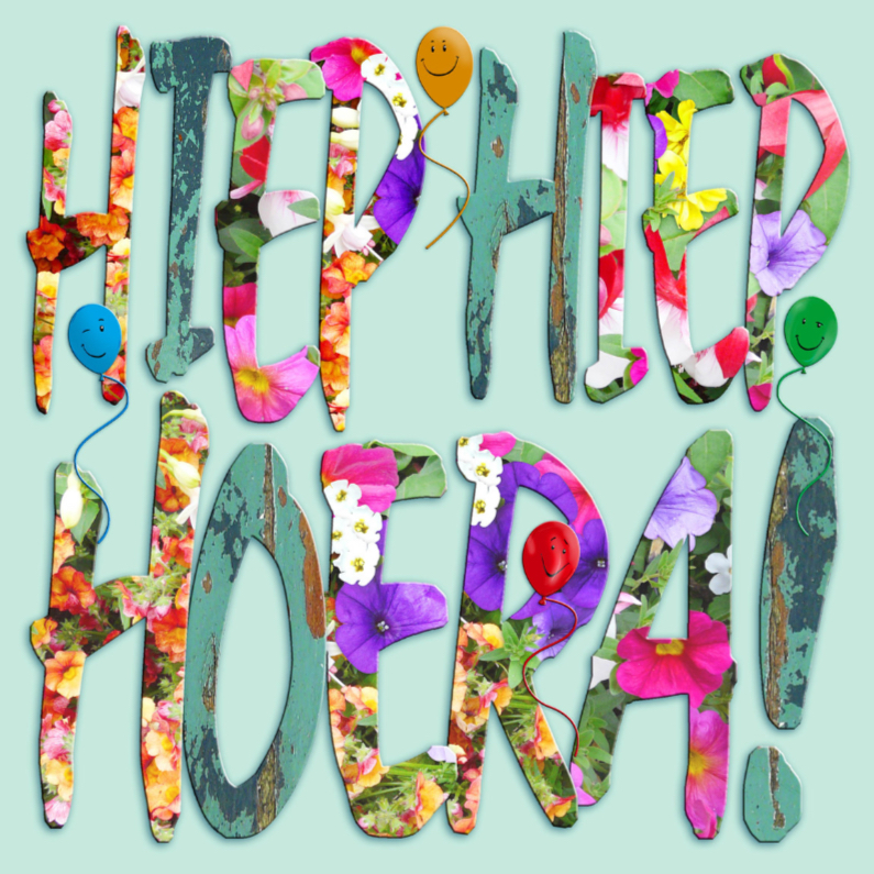 Verjaardagskaarten - Leuke verjaardagskaart  Hiep Hiep Hoera op groen