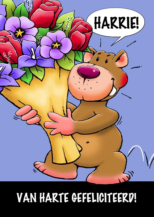 Verjaardagskaarten - Leuke verjaardagskaart met beer en grote bos bloemen
