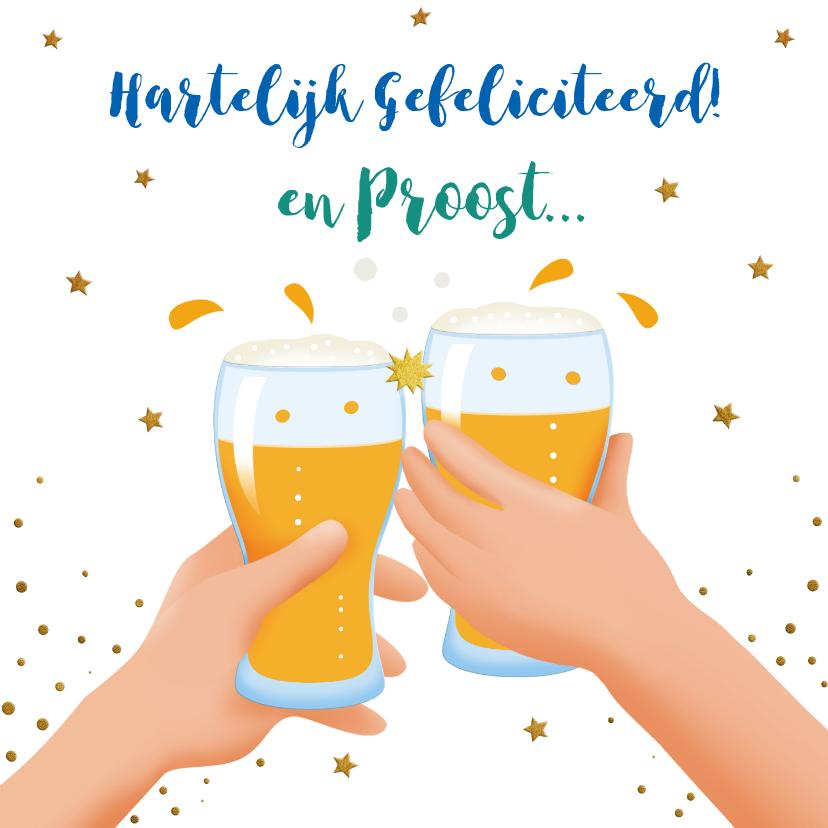 Verjaardagskaarten - Leuke verjaardagskaart met bierglazen, handen en glazen wijn