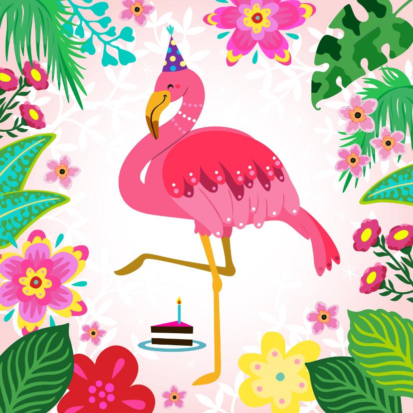 Verjaardagskaarten - Leuke verjaardagskaart met flamingo, bloemen en planten