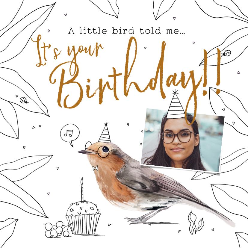 Verjaardagskaarten - Leuke verjaardagskaart met geïllustreerde vogel en cupcake